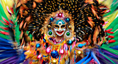 Dancer in motion, Masskara Festival, Bacolod, Bacolod, Negros Island, Philippines, Asia