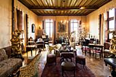 historic living room, Chaumont Castle, Château de Chaumont, Chaumont-sur-Loire, Loire, Département Loir-et-Cher, France