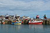 Fischerboote im Hafen, Guilvinec, Finistere, Bretagne, Frankreich