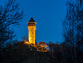 Illuminated tower of the Wildenburg, built in 1328, Rhineland-Palatinate, Germany, Europe