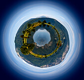 Lake Eichsee and mountains, little planet image, Upper Bavaria, Germany, Europe