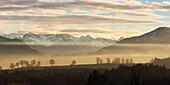 Karwendelgebirge im Abendlicht, Penzberg, Alpen, Oberbayern, Deutschland