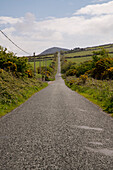 A long and straight road in the Irish landscape seen from while walking the Dingle Way, near Annascaul, Dingle Peninsula, County Kerry, Ireland, Europe