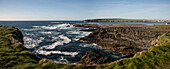 The Cliff Walk in Kilkee stretches from the bay to the north and south along the coast and shows the rough beauty of the landscape, Kilkee, County Clare, Ireland, Europe
