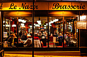 People in the Brasserie cafe le nazir, 56 Rue des Abbesses, Montmartre, 75018 Paris, France, Europe