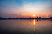 Sunset at the Aussenalster in Hamburg, North Germany, Germany