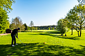 Male golfer at the golfcourse in Holm near Hamburg, North Germany, Germany