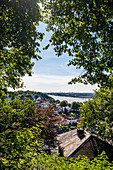 View from the Süllberg to Blankenese and the river Elbe in Hamburg, North Germany, Germany