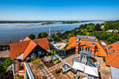 View from the Süllberg of Blankenese and the river Elbe, Hamburg, North Germany, Germany