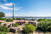 Cafe at the river Elbe near Blankenese, Hamburg, North Germany, Germany