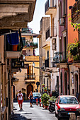tipical houses in the old city of Taormina, Sicily, South Italy, Italy
