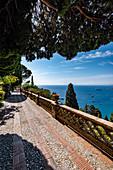 Giardini della Villa Comunale with view to the sea at Taormina, Sicily, South Italy, Italy