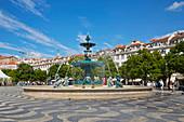 Lisboa, Fountain at the Rossio Square (Praca dom PedroIV), Baixa, District Lisboa, Portugal, Europe
