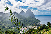 The mountains of Piton and the tropical rainforest, Castries, St. Lucia, Caribbean, West Indies