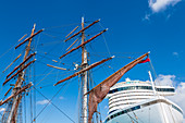 Cruise ship, rigging sailing ship, Bridgetown, Barbados, Caribbean, Lesser Antilles
