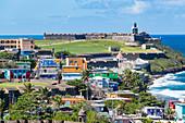Atlantic coast with view to San Felipe del Morro Fortress, San Juan, Puerto Rico, Caribbean, USA