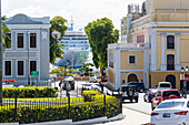 Old Town with cruise ship in the port, San Juan, Puerto Rico, Caribbean, USA