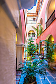 Inner courtyard, historical residential building, old town, San Juan, Puerto Rico, Caribbean, USA