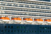 Cruise ship, backboard, lifeboats, San Juan, Puerto Rico, Caribbean, USA