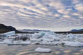 Fjallsarlon glacier lake near Jökulsarlon glacier in Iceland, Europe