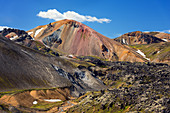 Brennisteinsalda volcano with remaining snow in Landmannalaugar region of Iceland, Europe