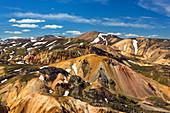 Brennisteinsalda volcano with remaining snow in Landmannalaugar region of Iceland, Europe