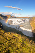 Gullfoss waterfall in sunshine with rainbow: Iceland, Europe