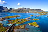 Bridge leading to the village of Fredvang on Moskenesoya island, Lofoten, Norway, Europe