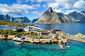 Aerial photograph of fishing village Sakrisoya on Moskenesoya island, Lofoten, Norway, Europe