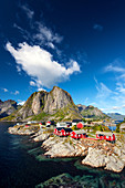 Cabins in fishing village Hamnoya on Moskenesoya island, Lofoten, Norway, Europe