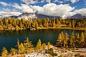 Lake Federa in Autumn, Cortina d'Ampezzo, Belluno, South Tyrol, Italy, Europe