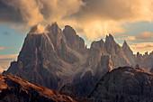 Mountain group of Cadini di Misurina, Auronzo di Cador in the Dolomites, Belluno, South Tyrol, Italy, Europe