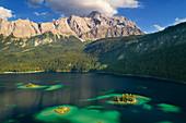Aerial view of Eibsee lake in summer, Zugspitze region, Garmisch-Partenkirchen, Bavaria, Germany