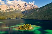 Lugwigsinsel in Eibsee lake in the Zugspitze region, Garmisch-Partenkirchen, Bavaria, Germany, Europe