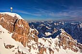 Zugspitze with view of the Alps, Garmisch-Partenkirchen, Bavaria, Germany, Europe