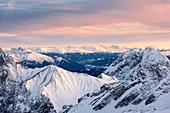Alpine panorama seen from the Zugspitze in winter, Garmisch-Partenkirchen, Bavaria, Germany, Europe