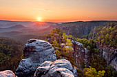 Sunrise over Carola rocks in Saxon Switzerland, Elbe Sandstone Mountains, Germany, Europe