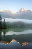 Hintersee lake in morning mist, Bavaria, Germany, Europe