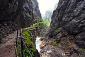 Hiking trail in the Höllental gorge near Grainau, Bavaria, Germany, Europe