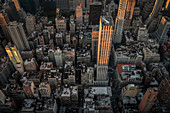 Roofttops with water storage tanks, view from viewing platform of Empire State Building, Manhattan, NYC, New York City, United States of America, USA, Northern America