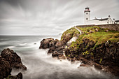 Strong tide at coast around Fanad Head Lighthouse, Letterkenny, County Donegal, Ireland, Wild Atlantic Way, Europe