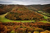 View at so called Round Hill around Bad Urach, Swabian Alb, Baden-Wuerttemberg, Germany