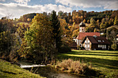 Small chapel with onion style church tower at Lauter river, UNESCO Biosphere Reserve Great Lauter Valley, Swabian Alb, Baden-Wuerttemberg, Germany