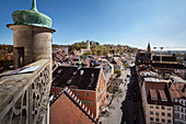 View at historic town centre with Mehlsack Tower and Veits Castle, Ravensburg, Baden-Wuerttemberg, Germany