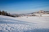 Abtei Neresheim im Winter, Neresheim bei Aalen, Härtsfeld, Ostalbkreis, Schwäbische Alb, Baden-Württemberg, Deutschland