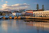 Houses along the river Gilao at Tavira, Sunset, District Faro, Region of Algarve, Portugal, Europe