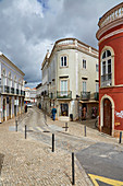 Traditionally tiled (Azulejos) houses at Tavira, District Faro, Region of Algarve, Portugal, Europe