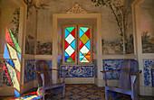 Pavilion with coloured windows and Azulejos, Palácio de Estói, Pousada, Estói, District Faro, Region of Algarve, Portugal, Europe