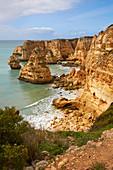 Steep coast and beach Praia da Marinha near Carvoeiro, Atlantic Ocean, District Faro, Region of Algarve, Portugal, Europe