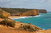 Steep coast at Ferragudo, Atlantic Ocean, District Faro, Region of Algarve, Portugal, Europe